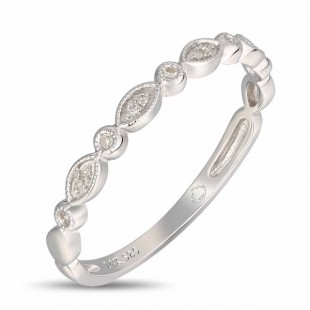 14K WHITE GOLD DIAMOND STACKABLE RING