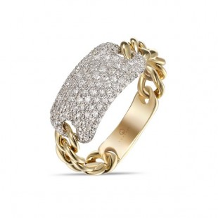 "LUVENTE Diamond Ring "" Chain Link"" - 14K Yellow Gold"