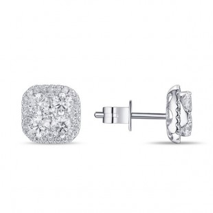 14K WHITE GOLD SQUARE DIAMOND CLUSTER EARRINGS