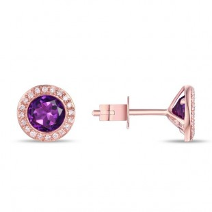 14K ROSE GOLD AMETHYST AND DIAMOND STUD EARRINGS