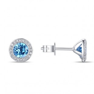 14K WHITE GOLD BLUE TOPAZ AND DIAMOND STUD EARRINGS