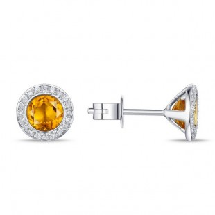 14K WHITE GOLD CITRINE AND DIAMOND STUD EARRINGS