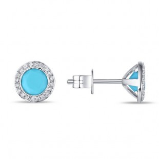 14K WHITE GOLD TURQUOISE AND DIAMOND STUD EARRINGS
