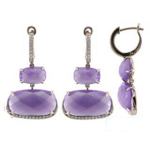 14K ROSE GOLD AMETHYST AND DIAMOND DROP EARRINGS