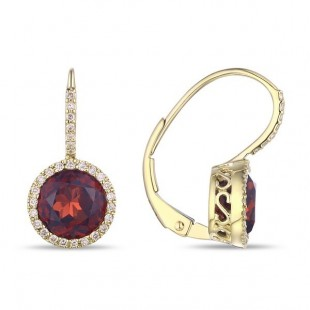 14K YELLOW GOLD GARNET AND DIAMOND LEVER BACK EARRINGS