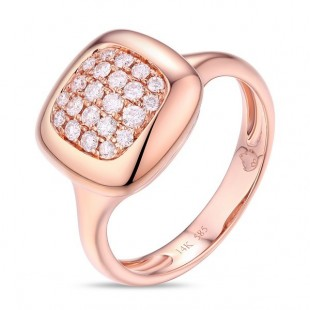14K Rose Gold Diamond Cluster Fashion Ring