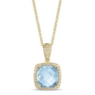 14K YELLOW GOLD TOPAZ AND DIAMOND PENDANT