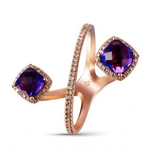 14K ROSE GOLD AMETHYST AND DIAMOND FASHION RING