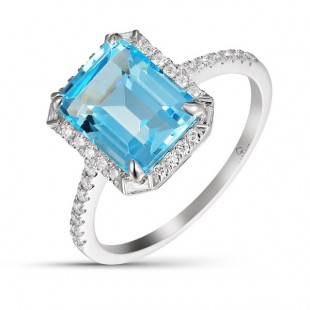 14K WHITE GOLD 3.54CT TOPAZ AND DIAMOND RING