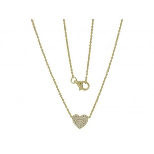14K YELLOW GOLD DIAMOND HEART CLUSTER NECKLACE