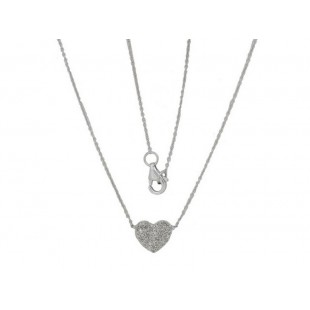 14K WHITE GOLD DIAMOND HEART CLUSTER NECKLACE