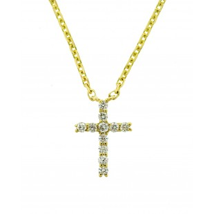 14K WHITE GOLD 0.22CT DIAMOND CROSS NECKLACE