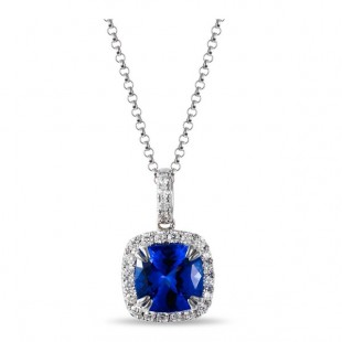 14K WHITE GOLD TANZANITE AND DIAMOND PENDANT