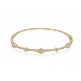 14K YELLOW GOLD DIAMOND HINGED BRACELET