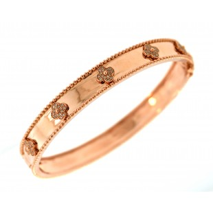 14K ROSE GOLD DIAMOND FLOWER BANGLE