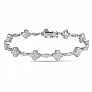 14K WHITE GOLD DIAMOND FLOWER TENNIS BRACELET