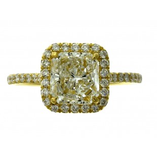 18K YELLOW GOLD 1.72CT RADIANT DIAMOND ENGAGEMENT RING