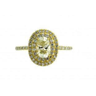 18K YELLOW GOLD 0.76 OVAL DIAMOND ENGAGEMENT RING