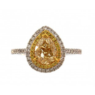 18K 1.55ct Fancy Yellow Pear Shaped Diamond Ring