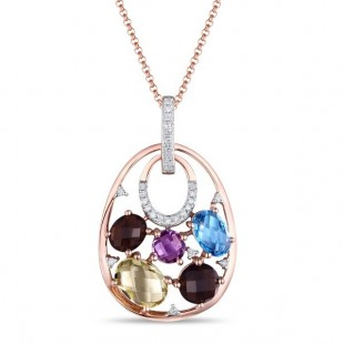 14K ROSE GOLD MULTI COLOR STONE AND DIAMOND PENDANT