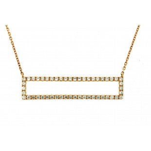 18K ROSE GOLD DIAMOND RECTANGLE NECKLACE