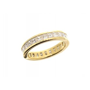 18K YELLOW GOLD 2.60CT PRINCESS CUT CHANNEL SET ETERNITY BAND