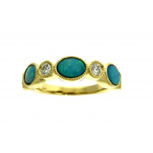 14K YELLOW GOLD OPAL AND DIAMOND BAND