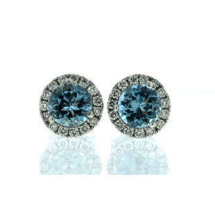 14K WHITE GOLD AQUAMARINE AND DIAMOND HALO STUD EARRINGS
