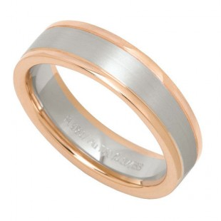 MEN'S PLATINUM AND 18K ROSE GOLD WEDDING BAND