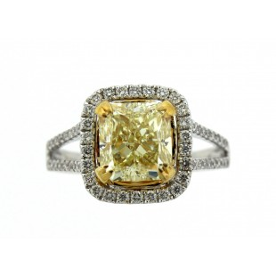 3.00 Carat Fancy Light Yellow Radiant Diamond Engagement Ring
