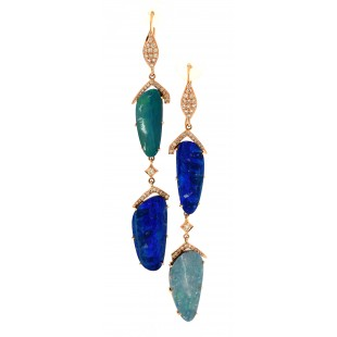 18K ROSE GOLD OPAL AND DIAMOND DANGEL EARRINGS