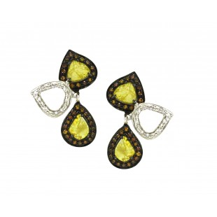 18K White Gold Yellow Diamond Slice Earrings