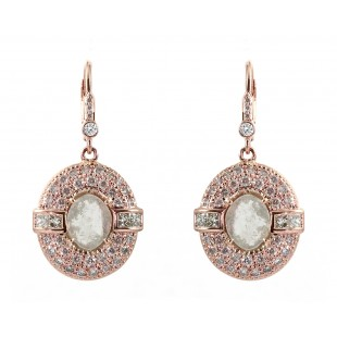 14K Rose Gold Antique Style Diamond Earrings