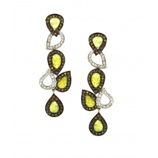 18K White Gold Yellow Slice Diamond Earrings