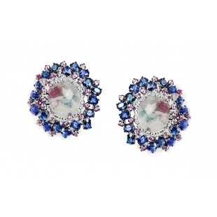 14K White Gold Pariba Wuartz and Sapphire Button Earrings