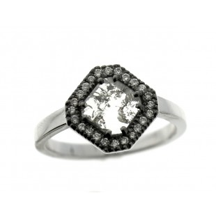 18K White Gold Grey Diamond Slice Ring