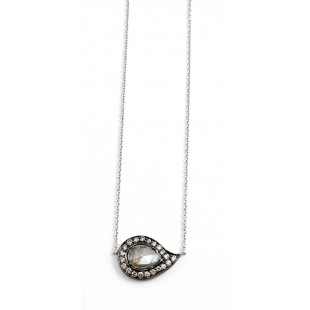 18K White Gold Grey Sliced Diamond Pendant