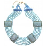 Rajola of Italy Aquamarine and Blue Agate Collier Necklace