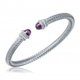 Diamond and Amethyst Cuff Bangle in Sterling Silver