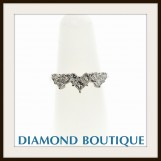 Ladies 18K White Gold Triple Heart 0.98 cts Diamond Ring sz 6.0