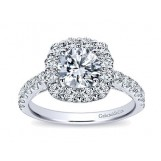 Gabriel & Co. 14k White Gold Round Halo Engagement Ring Setting