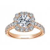 Gabriel & Co. 14k Rose Gold Round Halo Engagement Ring Setting