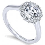 Gabriel and Co 14k White Gold Diamond Halo Ring