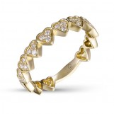 14K YELLOW GOLD DIAMOND HEART STACKABLE RING