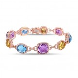 "7"" 14K ROSE GOLD MULTI COLOR STONE BRACELET"
