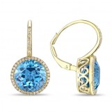 14K Yellow Gold Blue Topaz & Diamond Lever Back Earrings