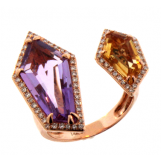 LUVENTE Halo Ring with Amethyst ,Citrine, and Diamonds