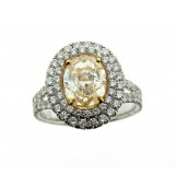 2.06 CARAT FANCY LIGHT YELLOW OVAL DIAMOND ENGAGEMENT RING