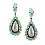 18K White Gold Diamond Pariba Quartz and Apatite Dangle Earrings