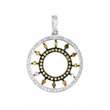 18K White Gold Fancy Color Diamond Circle Pendant